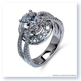 Mark Silverstein Imagines 18K White Gold Three Strand Halo Diamond Enagagement Ring