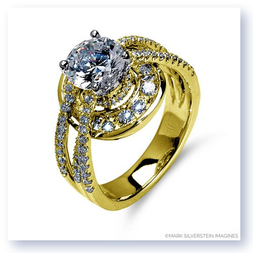 Mark Silverstein Imagines 18K Yellow Gold Three Strand Halo Diamond Enagagement Ring