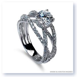Mark Silverstein Imagines 18K White Gold Triple Band Crossover Diamond Engagement Ring