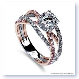 18K White and Rose Gold Triple Band Crossover Pink and White Diamond Engagement Ring