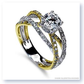 Mark Silverstein Imagines 18K White and Yellow Gold Triple Band Crossover Diamond Engagement Ring