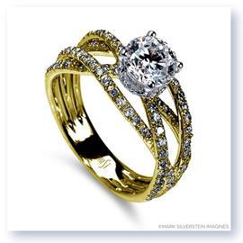 Mark Silverstein Imagines 18K Yellow Gold Triple Band Crossover Diamond Engagement Ring