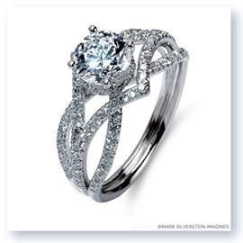 Mark Silverstein Imagines 18K White Gold Three Strand Crossover Edgy Diamond Engagement Ring