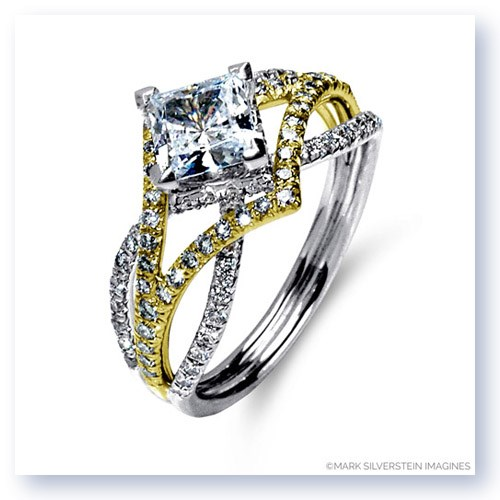 Mark Silverstein Imagines 18K White and Yellow Gold Three Strand Crossover Edgy Diamond Engagement Ring