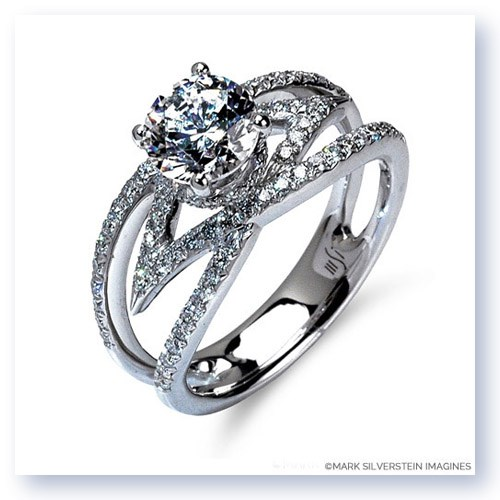 Mark Silverstein Imagines 18K White Gold Split Shank Crossover Convergent Diamond Engagement Ring