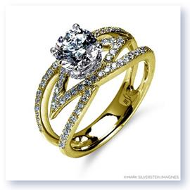 Mark Silverstein Imagines 18K Yellow Gold Split Shank Crossover Convergent Diamond Engagement Ring