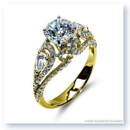 Mark Silverstein Imagines 18K Yellow Gold Floral Lattice Diamond Engagement Ring