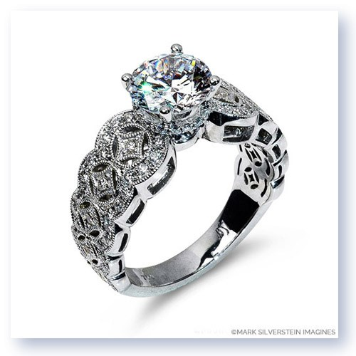 Mark Silverstein Imagines 18K White  Gold Art Deco Inspired Diamond Engagement Ring