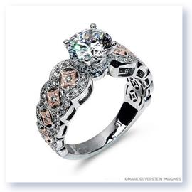 Mark Silverstein Imagines 18K White and Rose Gold Art Deco Inspired Diamond Engagement Ring