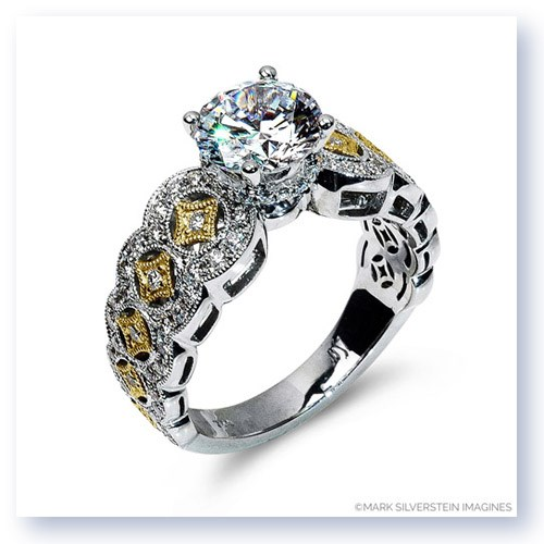 Mark Silverstein Imagines 18K White and Yellow Gold Art Deco Inspired Diamond Engagement Ring