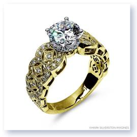 Mark Silverstein Imagines 18K Yellow  Gold Art Deco Inspired Diamond Engagement Ring