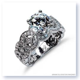 Mark Silverstein Imagines 18K White Gold Art Deco Inspired Tapered Diamond Engagement Ring