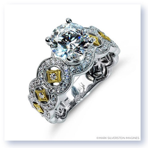 Mark Silverstein Imagines 18K White and Yellow Gold Art Deco Inspired Tapered Diamond Engagement Ring