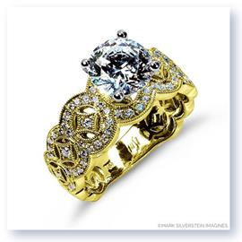 Mark Silverstein Imagines 18K Yellow Gold Art Deco Inspired Tapered Diamond Engagement Ring