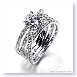 Mark Silverstein Imagines 18K White Gold Four Band Crossover Diamond Engagement Ring