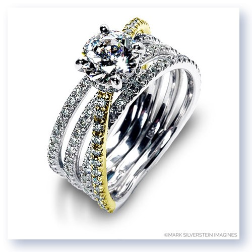 Mark Silverstein Imagines 18K White and Yellow Gold Four Band Crossover Diamond Engagement Ring
