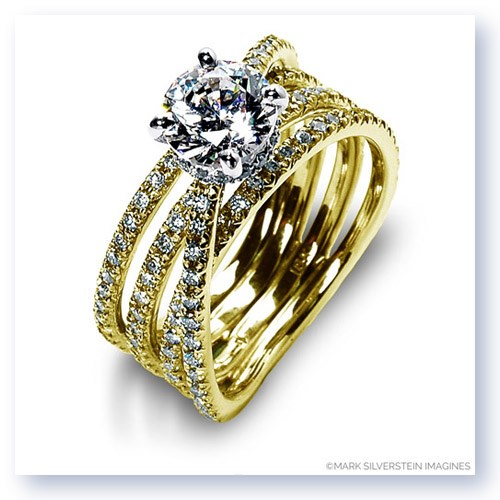Mark Silverstein Imagines 18K Yellow Gold Four Band Crossover Diamond Engagement Ring