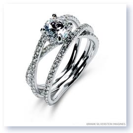 Mark Silverstein Imagines 18K White Gold Double Band Crossover Diamond Engagement Ring