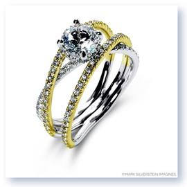 Mark Silverstein Imagines 18K White and Yellow Gold Double Band Crossover Diamond Engagement Ring