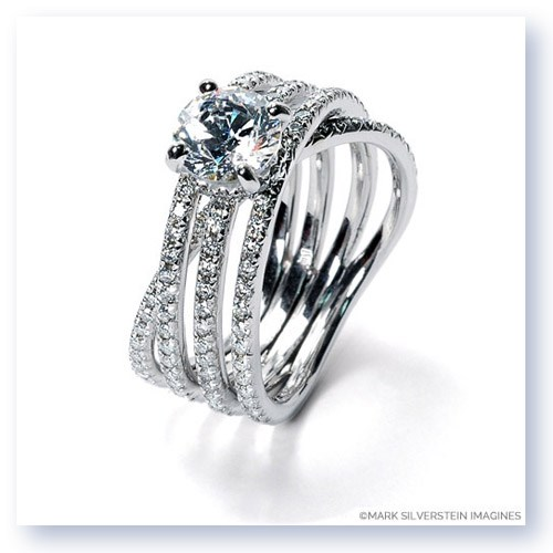 Mark Silverstein Imagines 18K White Gold Three Band Crossover Diamond Engagement Ring