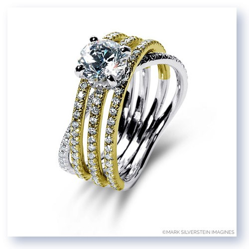 Mark Silverstein Imagines 18K White and Yellow Gold Three Band Crossover Diamond Engagement Ring