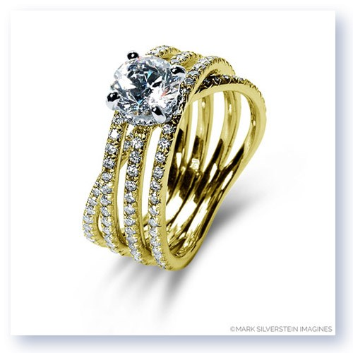 Mark Silverstein Imagines 18K Yellow Gold Three Band Crossover Diamond Engagement Ring