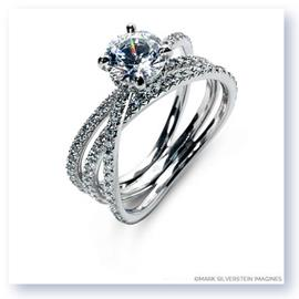 Mark Silverstein Imagines 18K White Gold Double Row Single Crossover Diamond Engagement Ring