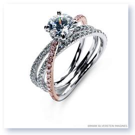 Mark Silverstein Imagines 18K White and Rose Gold Double Row Single Crossover Pink and White Diamond Engagement Ring