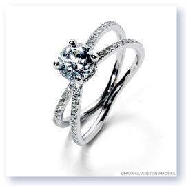 Mark Silverstein Imagines 18K White Gold Double Loop Diamond Engagement Ring