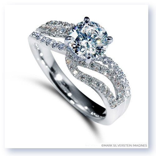 Mark Silverstein Imagines 18K White Gold Wave Bypass Diamond Engagement Ring