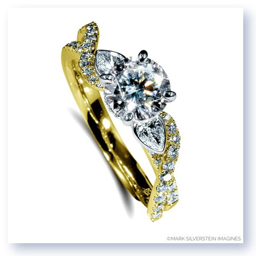 Mark Silverstein Imagines 18K Yellow  Gold Pear Side Stone Twist Diamond Engagement Ring