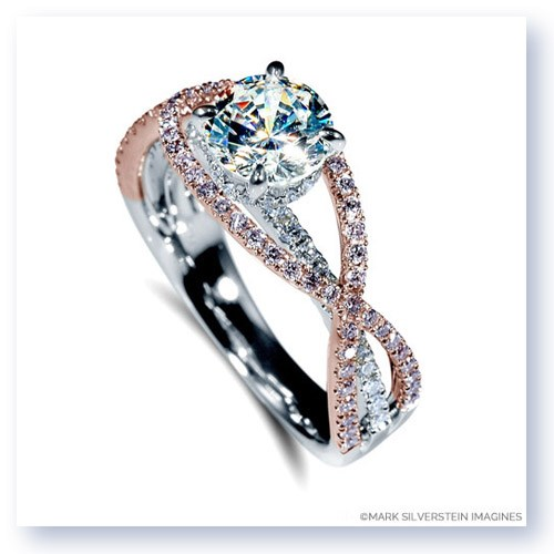 Mark Silverstein Imagines 18K White and Rose Gold Criss-Cross Pink and White Diamond Enagagement Ring