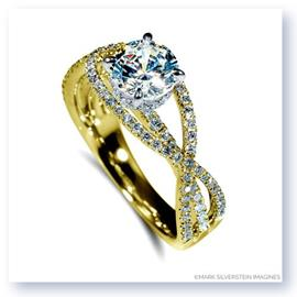 Mark Silverstein Imagines 18K Yellow Gold Criss-Cross Diamond Enagagement Ring