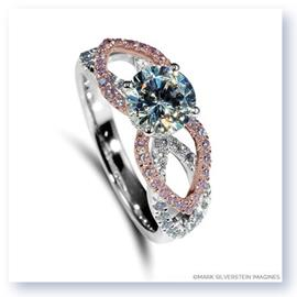 Mark Silverstein Imagines 18K White and Rose Gold Flower Petal Pink and White Diamond Enagagement Ring