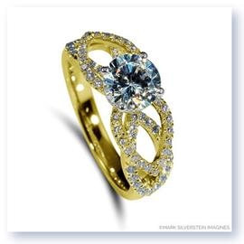 Mark Silverstein Imagines 18K Yellow Gold Flower Petal Diamond Enagagement Ring