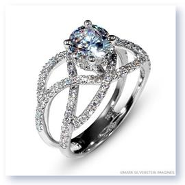 Mark Silverstein Imagines 18K White Gold Double Split Shank Crossover Diamond Enagagement Ring