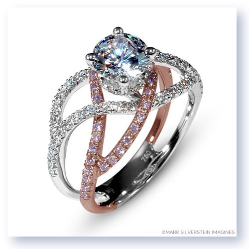 Mark Silverstein Imagines 18K White and Rose Gold Double Split Shank Crossover Pink and White Diamond Enagagement Ring