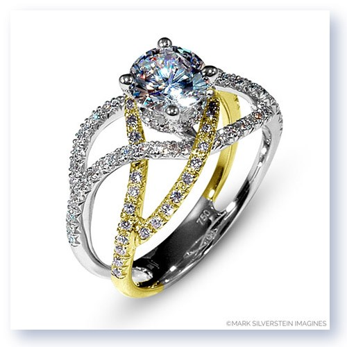 Mark Silverstein Imagines 18K White and Yellow Gold Double Split Shank Crossover Diamond Enagagement Ring