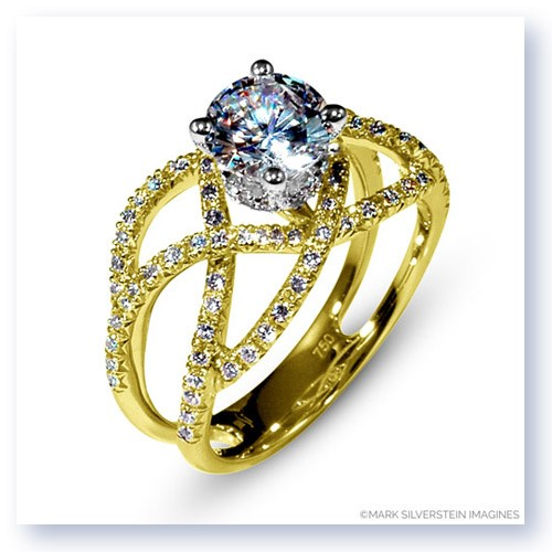 Mark Silverstein Imagines 18K Yellow Gold Double Split Shank Crossover Diamond Enagagement Ring