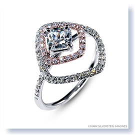 Mark Silverstein Imagines 18K White and Rose Gold Double Square Halo Pink and White Diamond Engagement Ring
