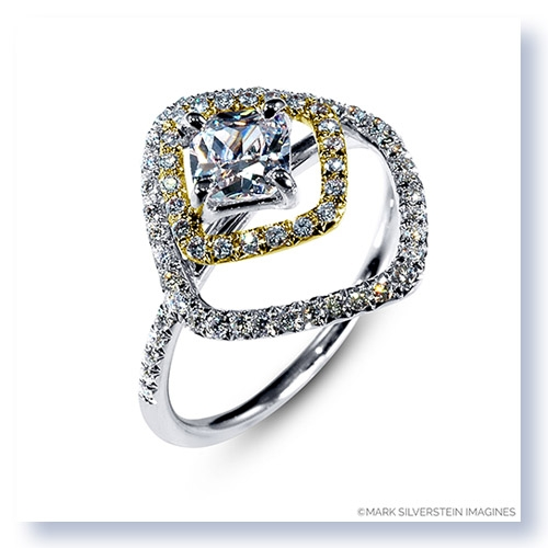 Mark Silverstein Imagines 18K White and Yellow Gold Double Square Halo Diamond Engagement Ring