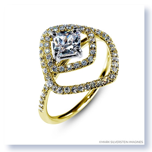 Mark Silverstein Imagines 18K Yellow Gold Double Square Halo Diamond Engagement Ring