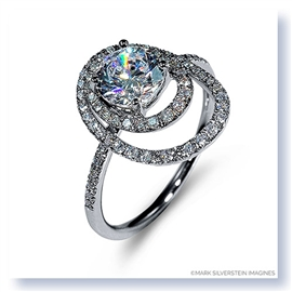 Mark Silverstein Imagines 18K White Gold Double Round Halo Diamond Engagement Ring