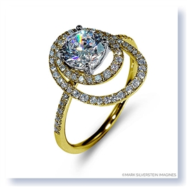 Mark Silverstein Imagines 18K Yellow Gold Double Round Halo Diamond Engagement Ring