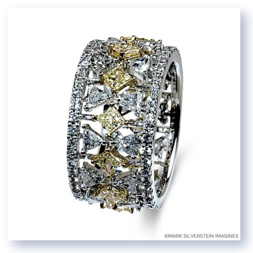 Mark Silverstein Imagines 18K White and Yellow Gold Yellow and White Diamond Accent Fashion Wide Band