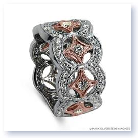 Mark Silverstein Imagines 18K White and Rose Gold Open Circle and Star Fashion Band