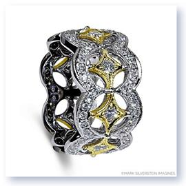 Mark Silverstein Imagines 18K White and Yellow Gold Open Circle and Star Fashion Band