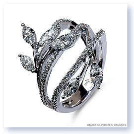 Mark Silverstein Imagines 18K White Gold Diamond Petal Fashion Ring