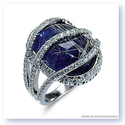 Mark Silverstein Imagines 18K White Gold Rutilated Quartz Over Lapis Fashion Ring