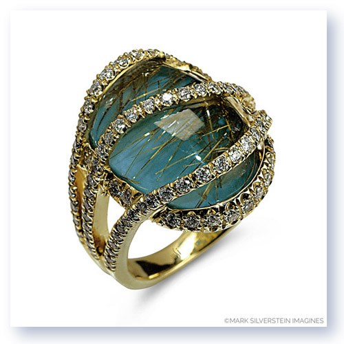 Mark Silverstein Imagines 18K Yellow Gold Rutilated Quartz Over Turquoise Fashion Ring
